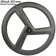 цена на [CBRDW3-23] 20inch 451 23mm Clincher carbon 3 spoke wheels bicycle carbon road track fixed tri spoke wheels disc brake wheel
