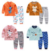 Unisex 6 M-4 T niños niña conjuntos de pijamas ropa interior trajes de algodón otoño niños de manga larga hombro hebilla ropa para bebés