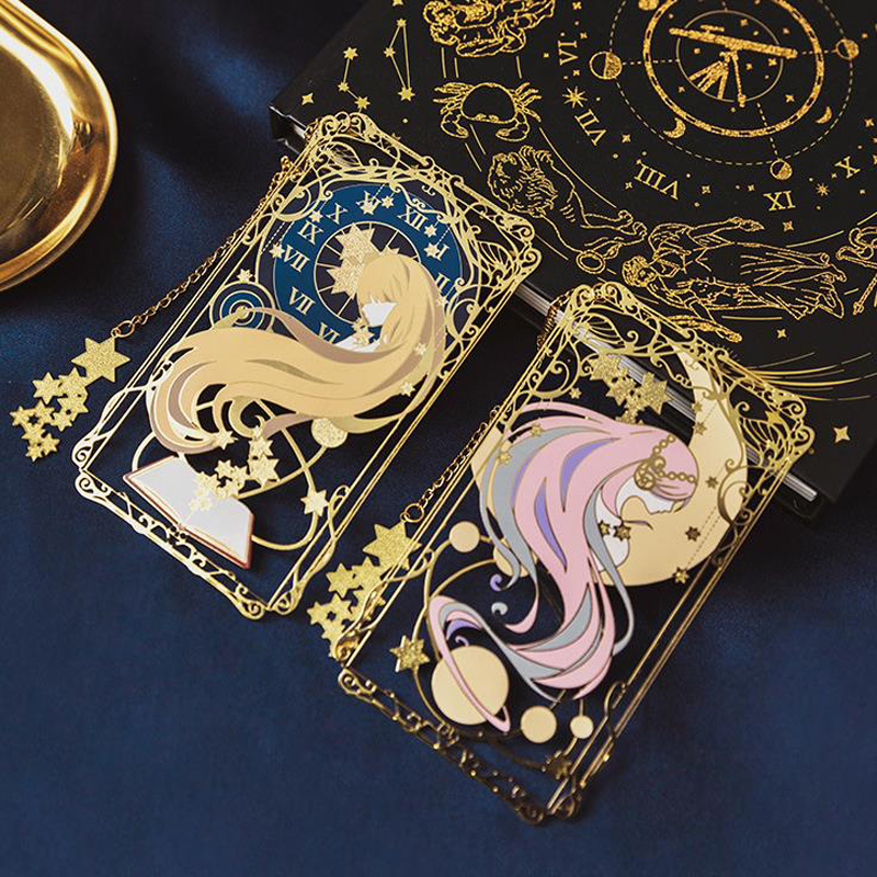 1 Pcs Cartoon Japanese Style Girls Moon Star Clock Metal Hollow Bookmarks Book Marker Page Holders Students Stationery Gifts
