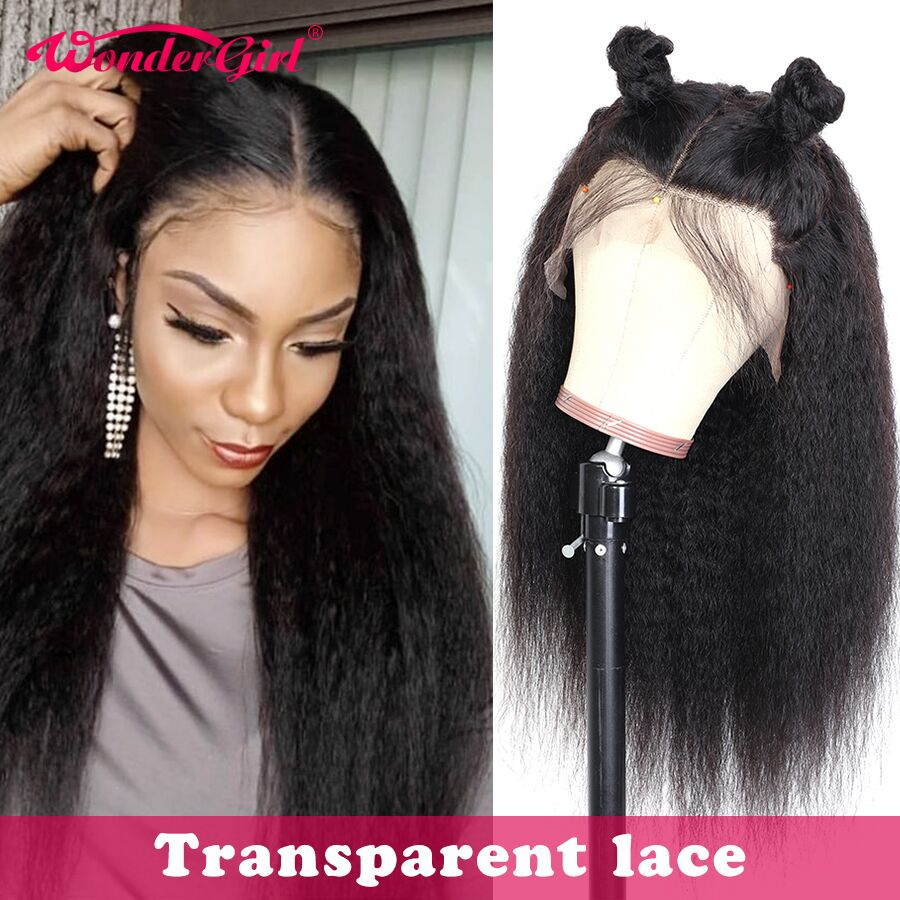 Wonder Girl Kinky Straight Lace Front Wig Transparent 360 Lace Frontal Wig Remy 13x6 Lace Front Human Hair Wigs For Black Women