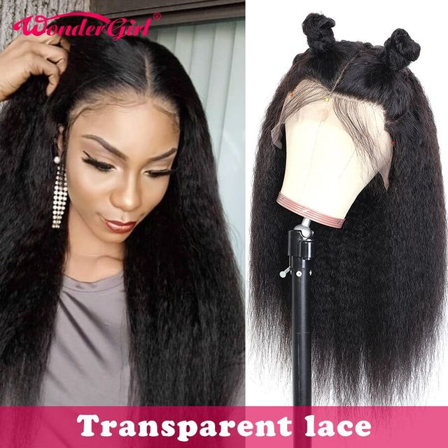 $ US $48.30 Wonder girl Kinky Straight Lace Front Wig Transparent 360 Lace Frontal Wig Remy 13x6 Lace Front Human Hair Wigs For Black Women