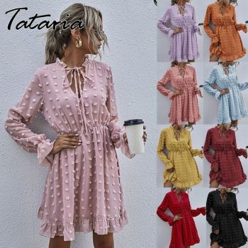 Women Pink Dress for Ladies Applique Chiffon Shirt Dress women Ruffled Neck Long Sleeve High Waist Mini Summer Dress Vestido 1