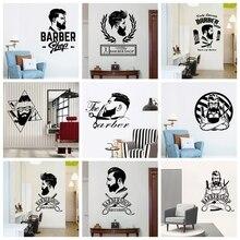 Creative Barber Art Vinyl Wall Sticker For Barber Shop Hairstyle Decotation Wall Decals Wallpaper Stickers Murals Wall Decor