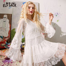 Mini Dress ELFSACK Hollow-Out Summer Lace White Vintage Full-Sleeve Solid Casual Contrast