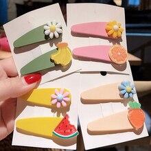2Pcs/set INS Fruit Baby Hair Clips Cute Handmade  Flower Cartoon Barrette Hairpins For Girls Childern Kids Accessories