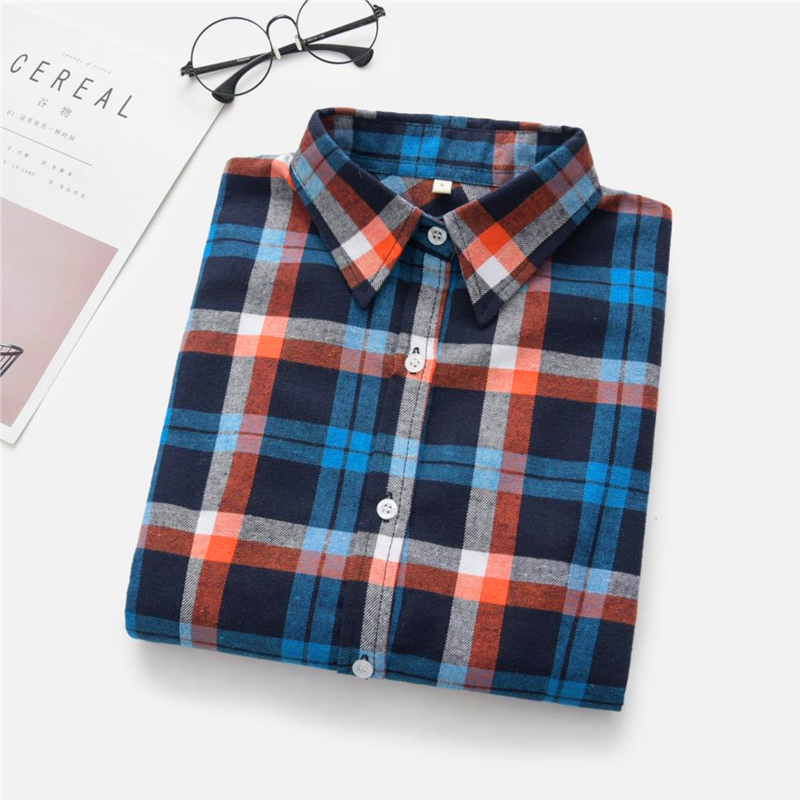 2020 New Women Blouses Brand New Excellent Quality Cotton 32style Plaid Shirt Women Casual Long Sleeve Shirt Tops Lady Clothes 29