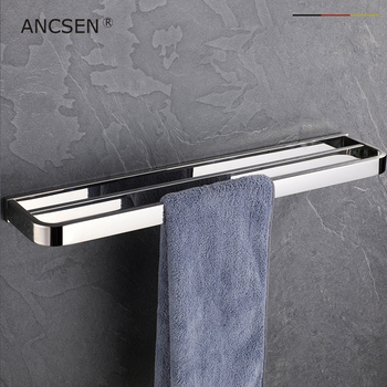 rest room304 Stainless Steel Double Bath Towel Bar Polished Finish Towel Holder Wall Mount Towel Rack for Bathroom Accessories