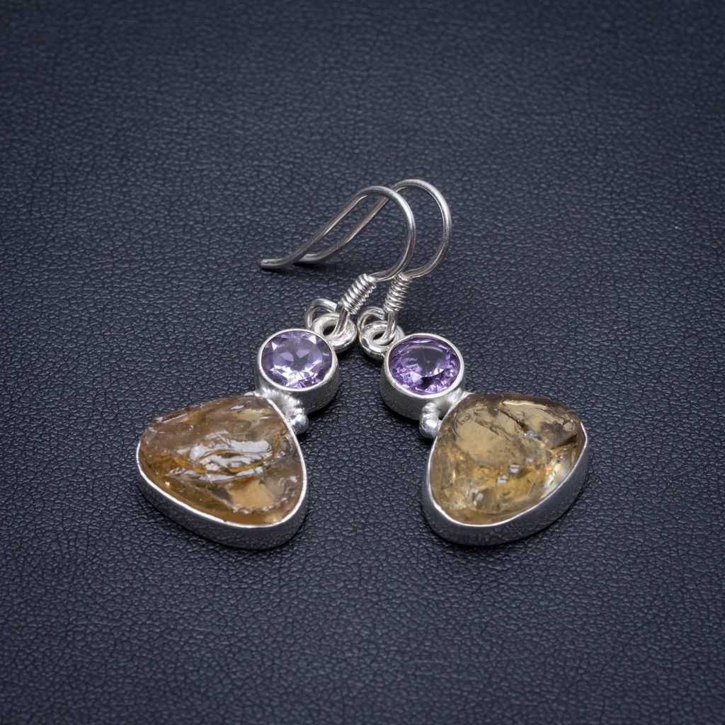 Natural Amethyst&Citrine rough Handmade Indian 925 Sterling Silver Earrings 1 1/4 S1772