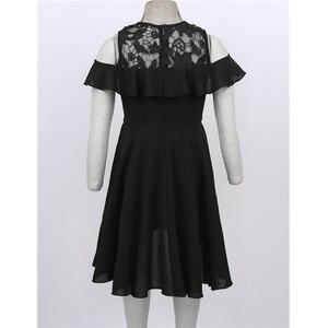 Image 3 - 膝丈レーススプライス高値安値裾フラワーガールのドレス子供フリルトリミングコールド肩ハイウエストの誕生日のドレス