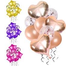 9 pçs/lote Ouro Rosa Confetti coração Balões Folha estrela 12 polegadas Balões De Látex Balão de festa de aniversário do casamento decoração Festival