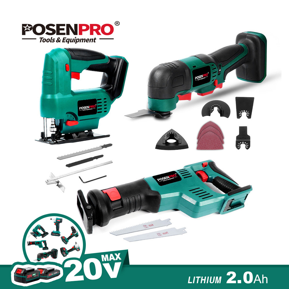 Cordless Jig Saw No Battery 20V Electric Saw Reciprocating Saw Oscillating Tool with Accessories Cutting Wood  Bare Tool