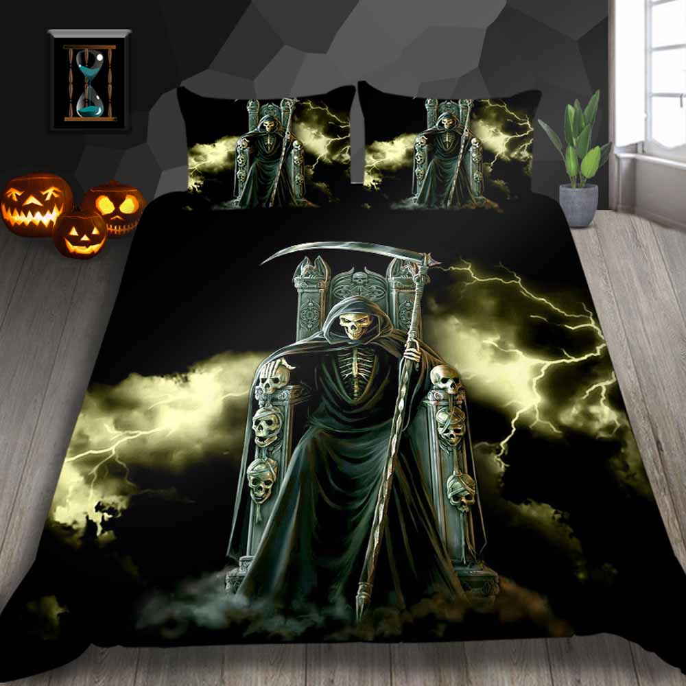 Thumbedding Grim Reaper Print Bedding Set King 3D Scary Fashionable Duvet Cover For Home Queen Full Twin Single Double Bed Set