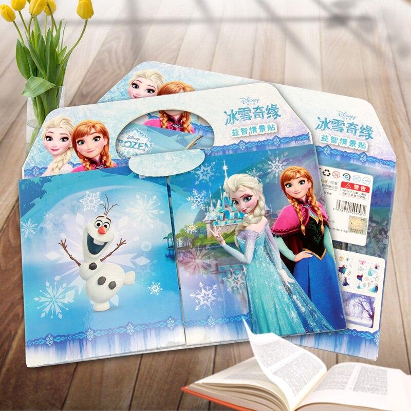 Desenhos animados elsa e anna crianças adesivo quebra-cabeça artesanal adesivos livro disney congelado bolha adesivos pegatinas autocollant enfant