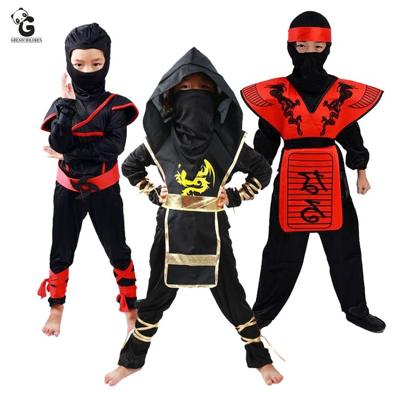 Boys Ninja Assassin Black Red Fancy Dress Up Party Costume Halloween