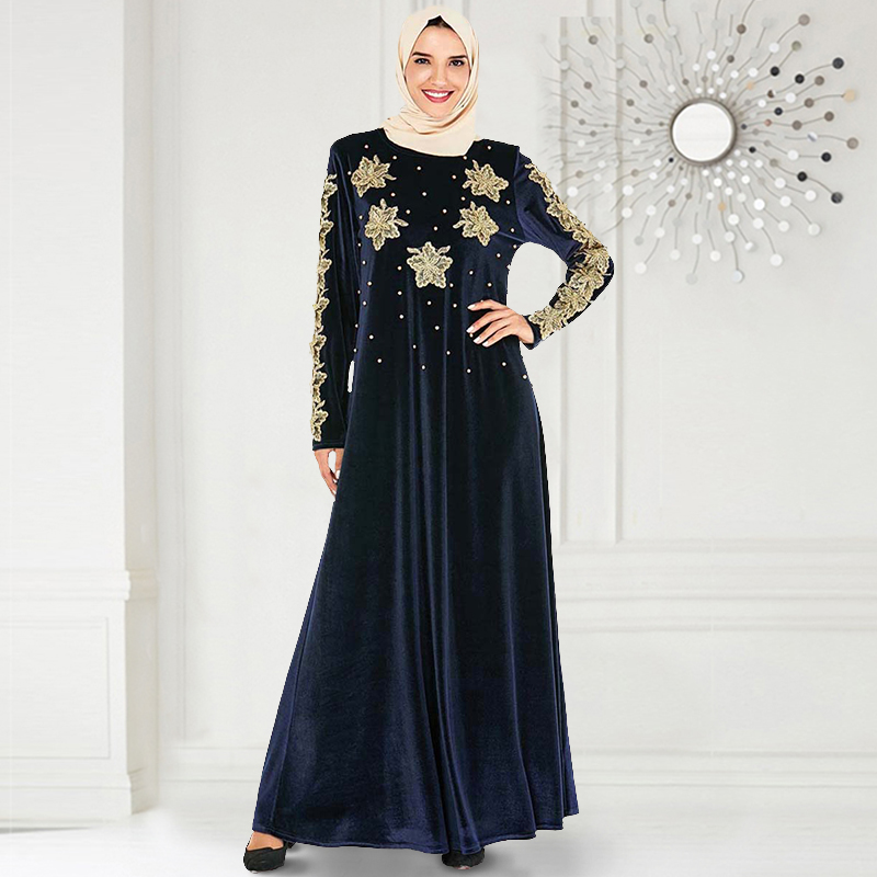 Siskakia Party Dresses For Muslim Women Golden Flower Embroidery Beads Design Plus Size Arabian Evening Banquet Dress Navy Blue