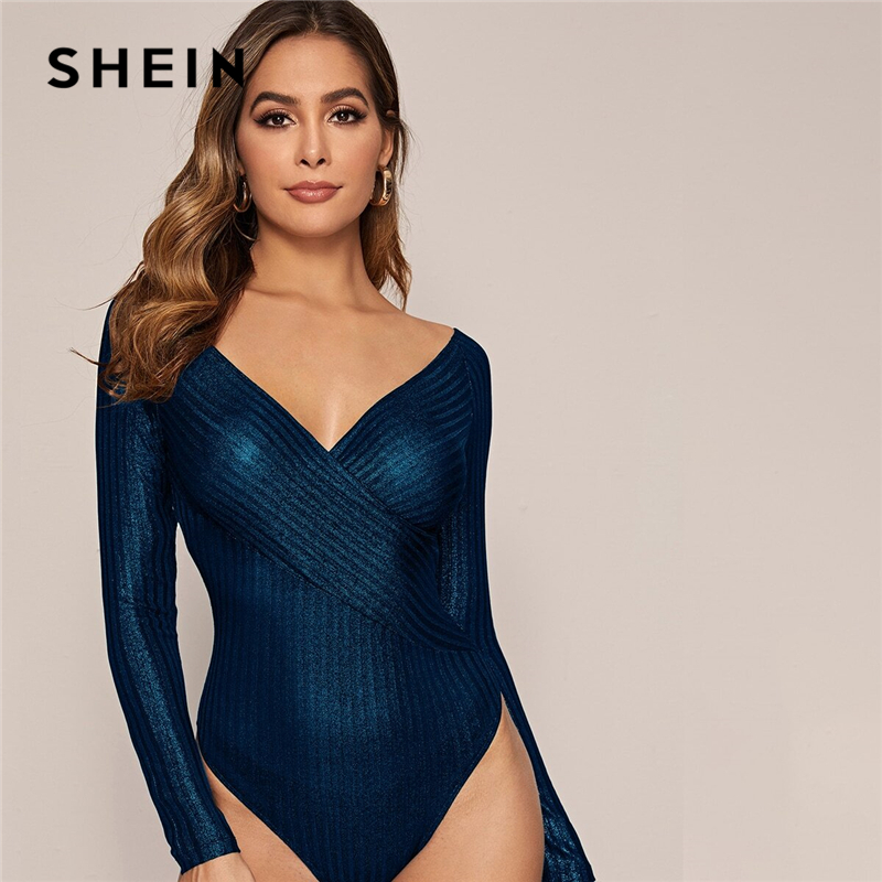 SHEIN Navy Cross Wrap Front Glitter Bodysuit Women Spring Stretchy Long Sleeve V-neck Mid Waist Skinny Glamorous Bodysuits