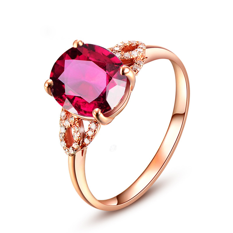 Fine Jewelry Ruby Rings For Women 18K Rose Gold Ring Engagement Diamond Natural Oval Red Tourmaline Stone Gemstone Birthday Gift