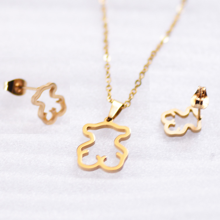 Gold Color Stainless Steel Necklace Earring Jewelry Sets Bear Cross Clover Necklace Sets for Women Never Faded Color Jewelry