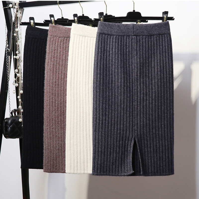 Women's Bodycon Split Knitted Skirt Autumn White High Waist Pencil Midi Skirts Women 2019 Winter Elegant Knitting Bottoms Female