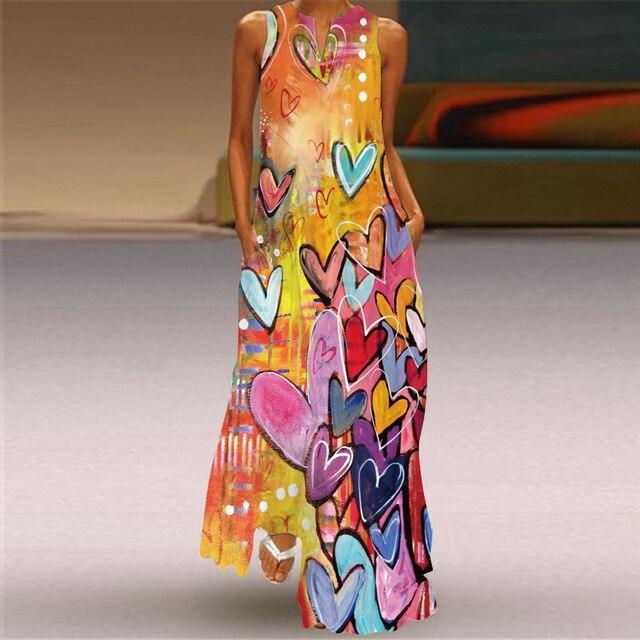 MOVOKAKA Heart Print Vintage Dress 2021 Party V Neck Summer Sundresses Elegant dresses Women Casual Beach Maxi Dresses For Women 5