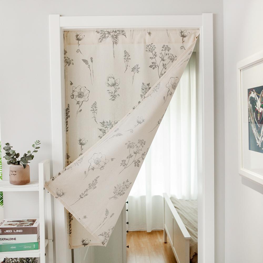 cotton door curtain modern doorway divider drapes for kitchen bathroom home decoration rod pocket design no rod included
