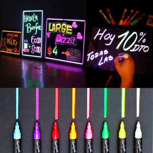 8pcs 6MM Fluorescent Highlighter Wet Liquid Chalk Neon Marker Pen Dry Eras Highlighters