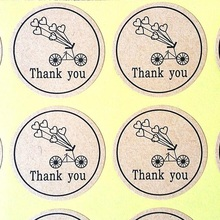120pcs/lot vintage pattern Round Kraft Paper Seal Sticker Romantic Bicycle Thank You  packaging label Material Supplies