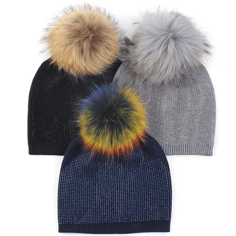 Geebro Adult Warm Knitted Casual Cashmere Beanies Hats Soft Skullies Beanies With Diamond Real Fur Pompom Accessories Cap Bonnet