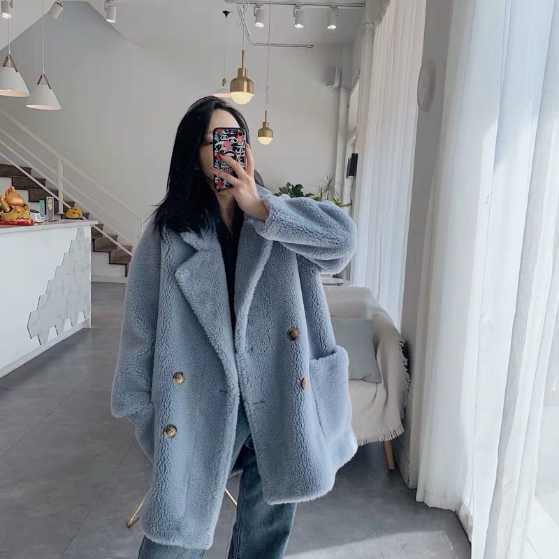 Faux Fur Coat Women Oversized 30% Real Sheep Fur Teddy Coat Girl 2019 New Fashion Double Breasted Winter Coat Women
