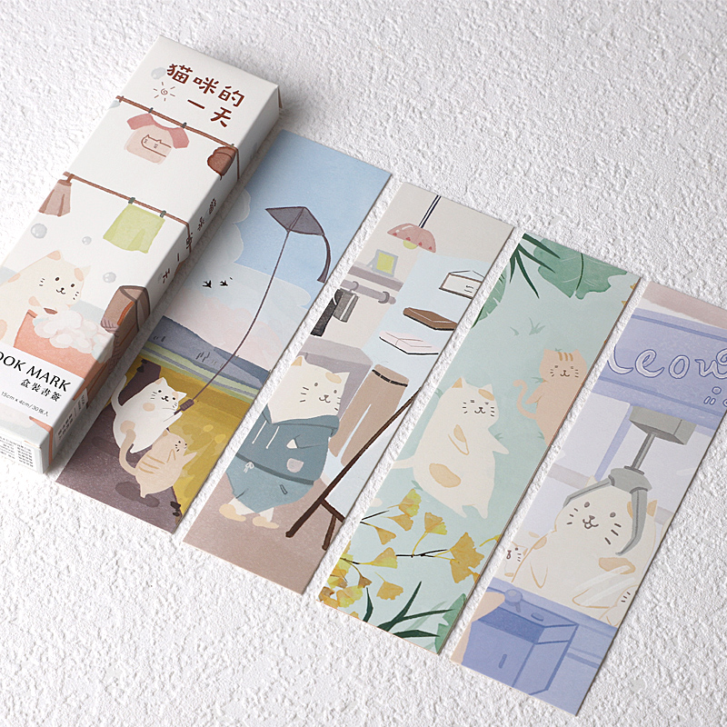30 Pcs/Set Novelty Cat's One Day Paper Bookmark Cartoon Book Holder Message Card Promotional Gift Stationery