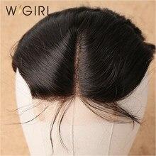Wigirl cabelo brasileiro fechamento da onda do corpo humano remy cabelo cor natural 4x4 médio/livre/fechamento do laço de três partes com cabelo do bebê