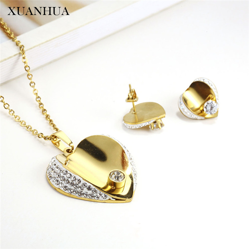 XUANHUA Stainless Steel Woman Jewelry Sets Charm Heart Necklace Set Of Earrings For Women Jewellery Accessories Bohemian
