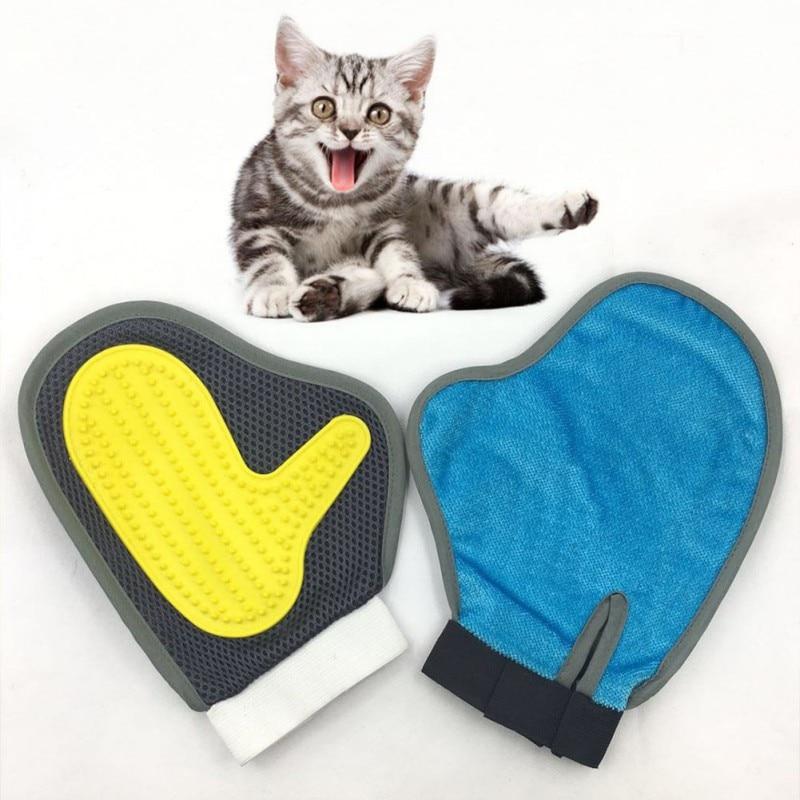Chat toilettage brosse doux Silicone peigne bain chat animal de compagnie enlever but gant brosse pour cheveux chien nettoyage Double