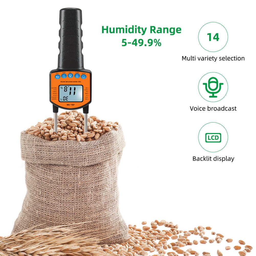 Цифровой измеритель влажности зерна, измеритель влажности и температуры с ЖК-дисплеем, металлический Смарт-датчик, голосовое воспроизведение, для кукурузы, пшеницы, риса, муки