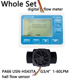 US211M cyfrowy miernik przepływu i USN-HS43TA G3 4 #8222 pomiar przepływu totalizera z nylonowym czujnikiem przepływu wody przepływomierz turbinowy iSentro tanie i dobre opinie Ultisolar CN (pochodzenie) Hydraulika US211M-USN-HS43TA 1-60 Mężczyzna Npt 3 4