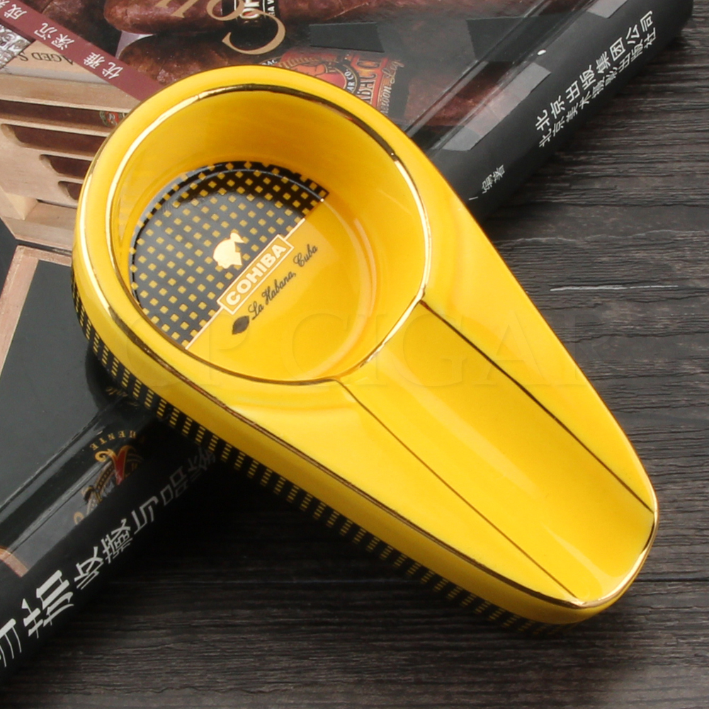 COHIBA Pocket Ashtray Mini Ceramic Cigar Ashtrays Portable Outdoor Ash Tray Small Luxury For 1 Cigars Ashtray Holder Stand