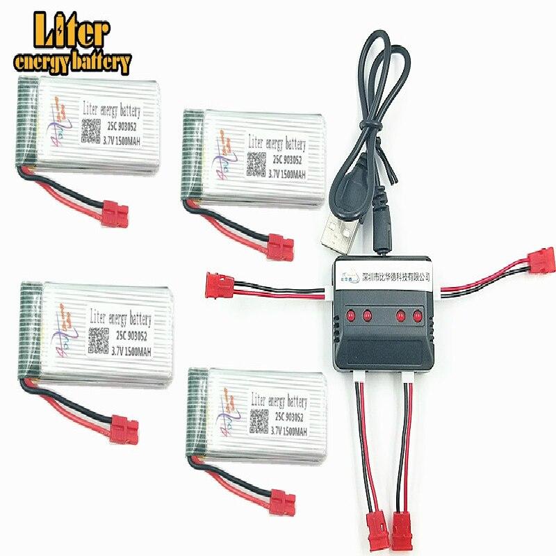 3,7 V 1500mah 903052 X5HC X5HW запасные части батареи 3,7 V 1200mAh Li Battery для X5HC X5HW с 4in1 балансовым зарядным устройством