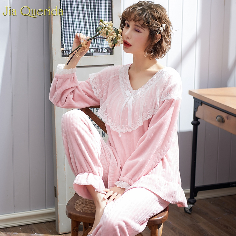 Pyjamas V Neck Women's Vintage Pajamas Flannel Ruffle Sleeves Gothic Victorian Lace Embellished Pajamas Set Woman Winter Pj Set