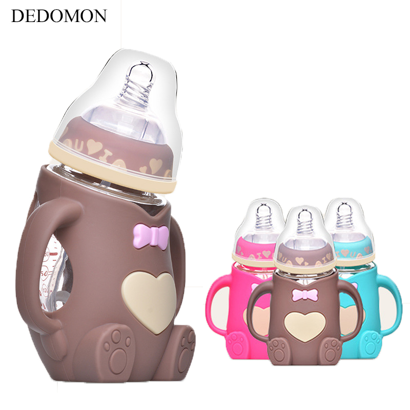 240ml Baby Silicone Milk Feeding Bottle Mamadeira Vidro BPA Free Safe Infant Juice Water Feeding Bottle Cup Glass Nursing Feede