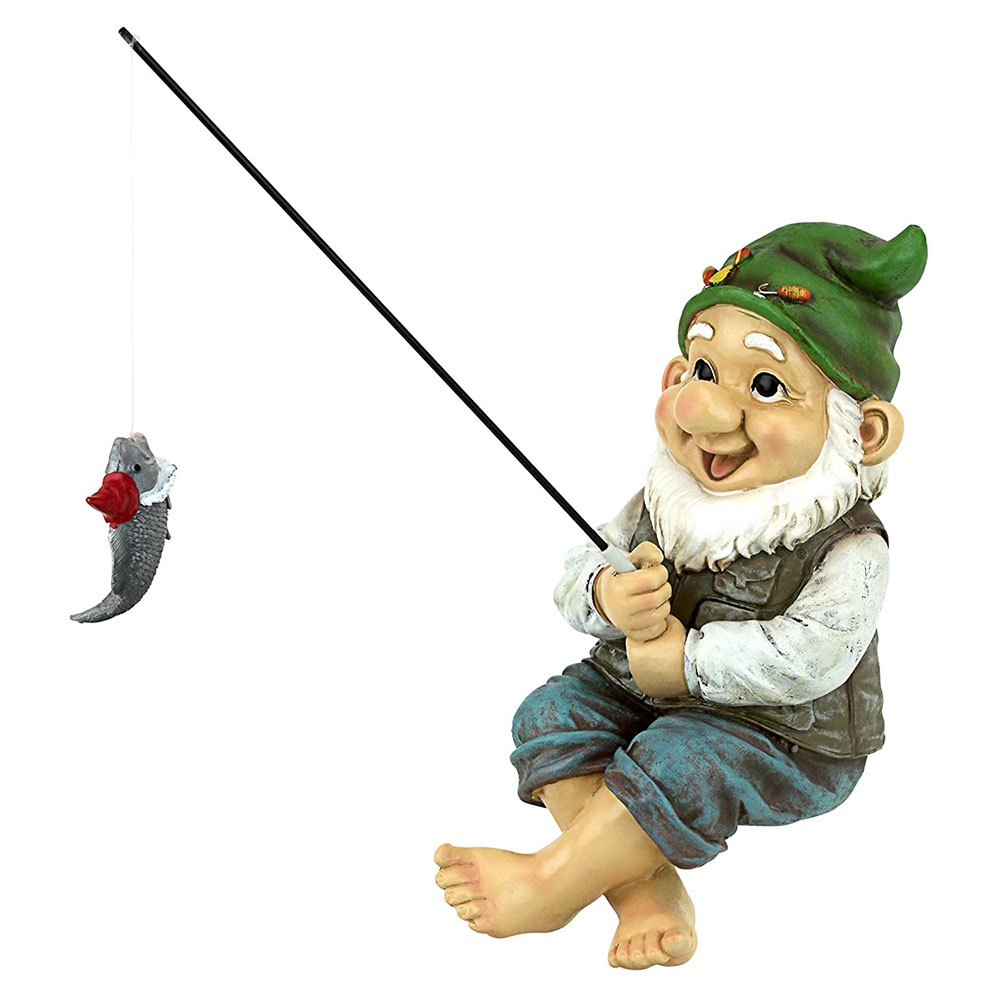 Garden Gnome Statue Resin Fishing Dwarf Elf Figurines Outdoor Pastoral Landscape Ornaments for Garden Yard Lawn Outdoor Decor