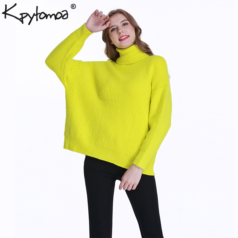 Vintage Stylish Turtleneck Oversized Knitted Sweater Women 2019 Fashion Warm Thick Long Sleeve Loose Pullovers Casual Pull Femme
