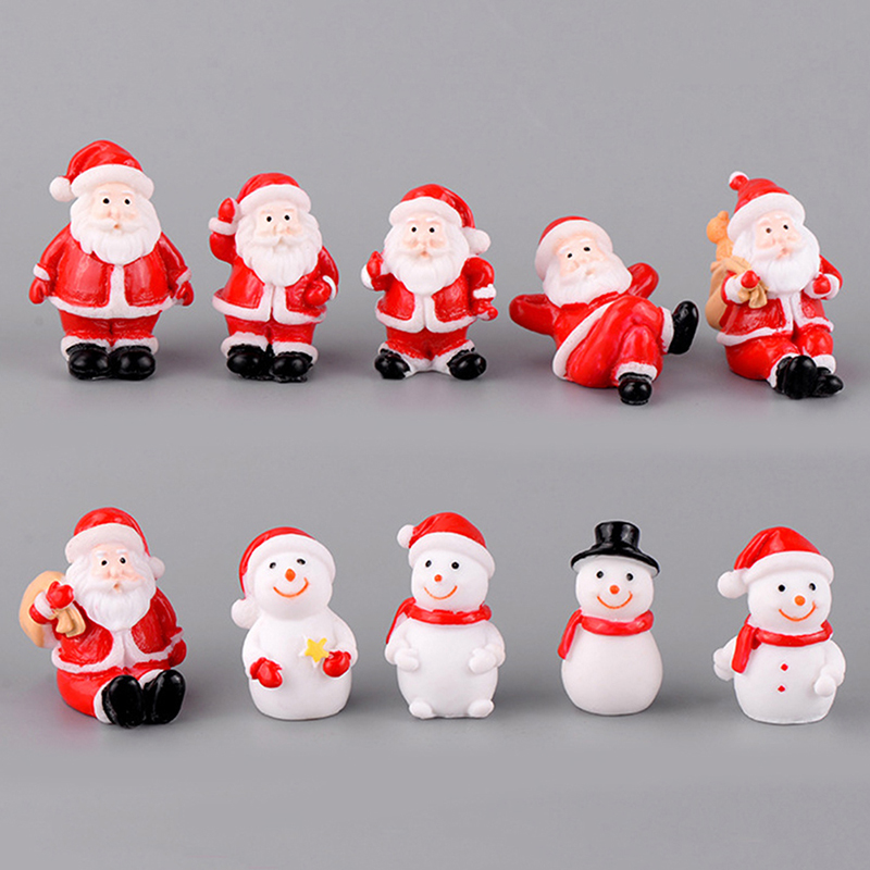Mini Resin Christmas Decoration Santa Claus Snowman Tree Micro Landscape Model DIY Miniature Garden Figurines Home Decoration