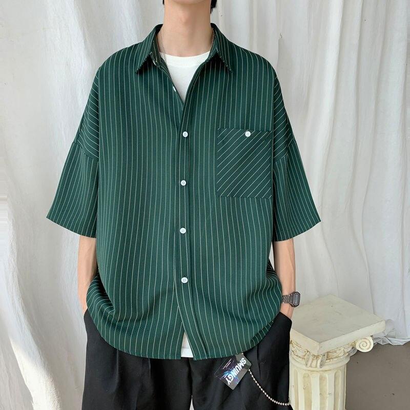2020 Men's Striped Short Sleeve Hawaiian Shirt Camisa Masculina Streetwear French Cuff Mens Fashion Shirts Large Size M-5XL