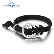 Gepersonaliseerde Cirkel Gegraveerd 4 Namen Armbanden Voor Mannen Custom Rvs Verstelbare Touw Armband Verjaardag Cadeaus Voor Man