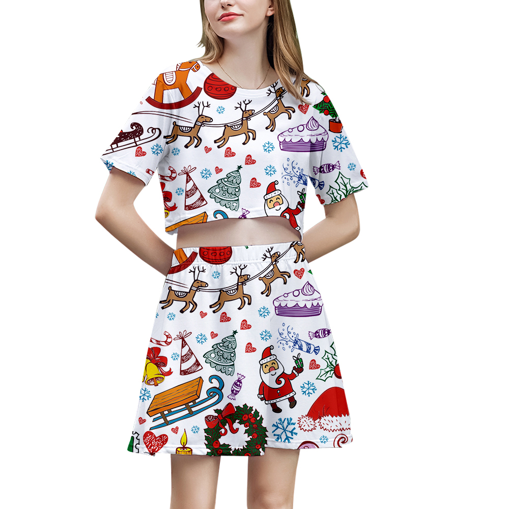 Christmas 3D Two Pieces Skirt Exclusive 2019 Fashion Hot Short Sleeve T-shirt + Skirt Little Sexy Dew Belly T-shirt+Skirt XS-2XL