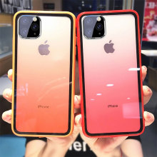 Transparent Gradient Phone Case for iphone 11 pro max clear case Acrylic Matte PC Back Cover Iphone xs xr Coque