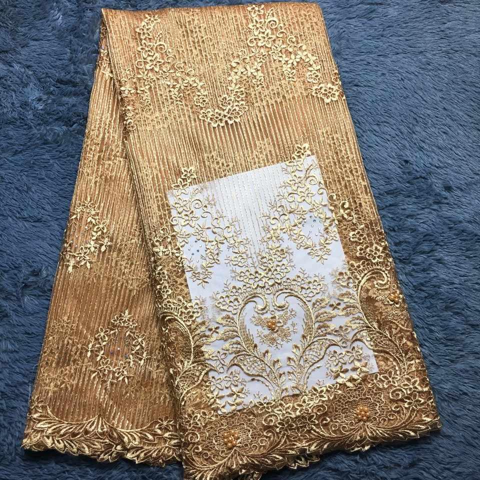 Кружево украшенное бисером в африканском стиле ткань 2019 высокое качество кружева Золотая свадебная кружевная ткань нигерийская Тюлевая сетка кружевной ткани, материал M2288