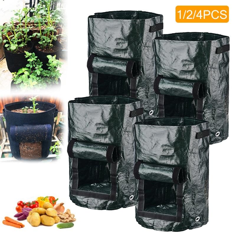 1/2/4pcs 10 Gallons Potato Planting Grow Bag PE Cloth Planting Container Bag Garden Vegetable Tomato Carrot Growing Bags