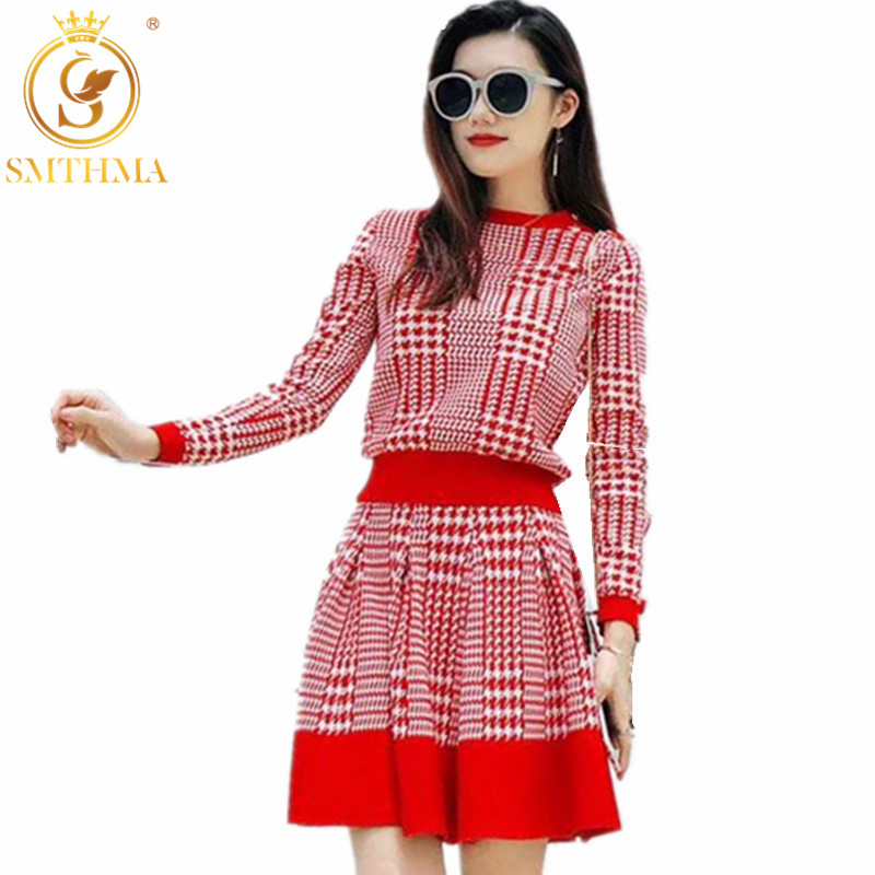 New Autumn Fashion Runway Women's Long Sleeve Knit Pullover Sweater +High Waist Plaid Skirt Two Piece Ladies Elegant Skirt Suit