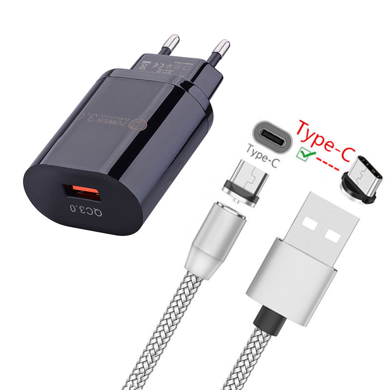 QC 3.0 USB Fast <font><b>Charger</b></font> Magnetic Type C Cable For Huawei P40 Pro P30 P20 Lite E <font><b>Google</b></font> <font><b>Pixel</b></font> <font><b>3a</b></font> XL LG Stylo 5 Motorola One Zoom image